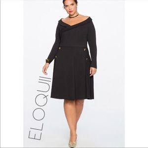 NWT Eloquii black fit flare button dress 18 2X